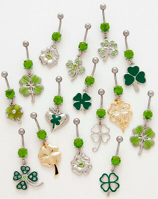 10pc Lucky Clover Shamrock Belly Ring Navel naval Wholesale Lot (B53)