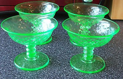 Depression Glass IMPERIAL GLASS CO (1925-35) 4 Sherbet VASELINE Diamond Quilted