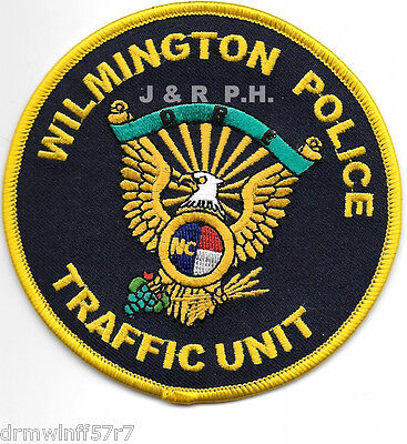 """Wilmington  Traffic Unit, NC (4"""" round size) shoulder police patch (fire)"""