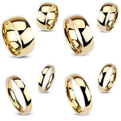 Stunning Mens Ladies Stainless Steel Gold IP High Polished Wedding Band Ring