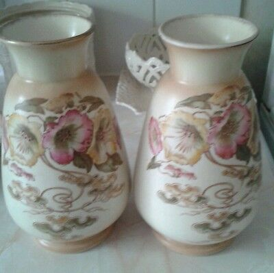 """A pair Of Blush S F Fielding RIGA vases VGC approx 8"""" high"""