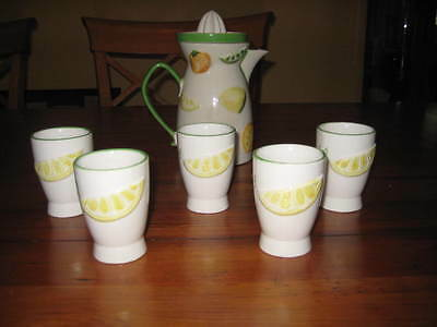 Napco Ceramic Fruit Pitcher with Juicer and 5 Cups