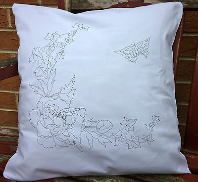 Embroidery printed Cushion Cover Pillow Peony Flowers to embroider CSOO94