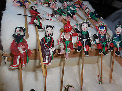16 Vintage Chinese Taiwan Formosa Beijing Opera Articulated Wax Puppets c1929