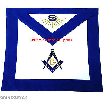Master Mason Apron Blue Velvet Golden Bullion  Synthetic Heavy Leather