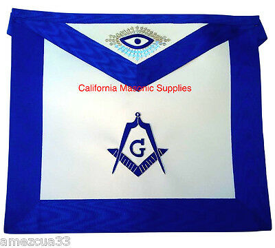 Master Mason Apron Outlined With Silver Threads  Synthetic Heavy Leather