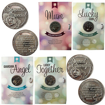 Lucky Coin Greeting Gift Message Keepsake Card Quote Engraved Good Luck Coin