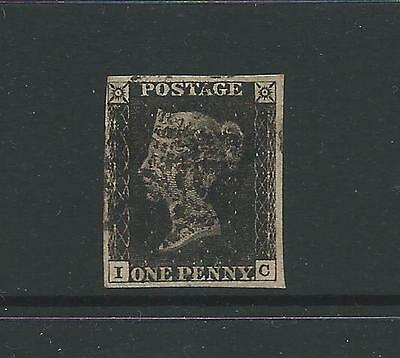 1d BLACK PLATE 6 LETTERED I-C WITH 4 MARGINS FINE USED WITH BLACK MALTESE CROSS