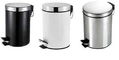 New Pedal Bin Lid Rubbish Waste Dust Litter Paper 3 Litre Small Black White Home