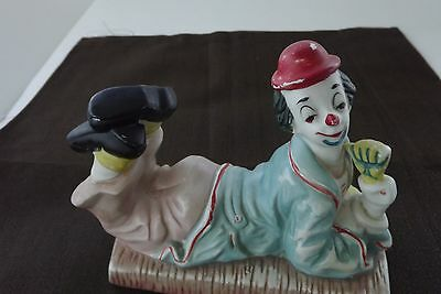 Ceramic Clown Laying Down, Hand Painted