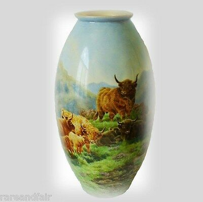 Willets belleek large hp vase - Scottish Highland  bull and cows - 1914 - signed