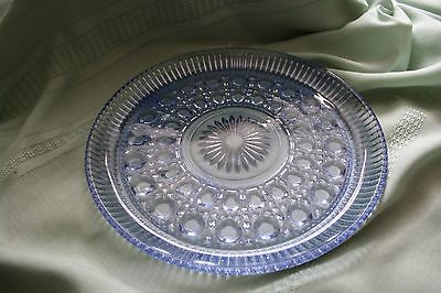 VINTAGE BLUE CRYSTAL CUT GLASS  PLATE 10 3/4""