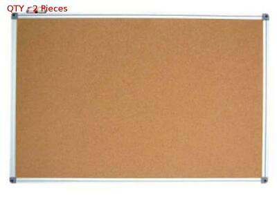 2X Brand New Commercial 600X900Mm Single Side Aluminum Frame Cork Board
