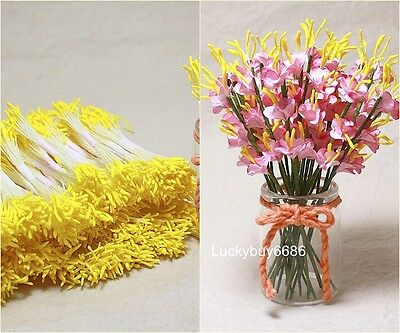 250 pcs Yellow Double Sided Round Flower Stamens Craft Artificial Floral Card
