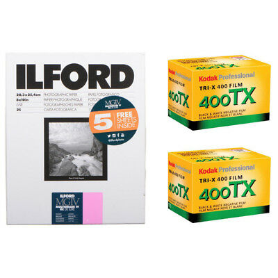 Ilford 8x10 Multigrade IV RC Deluxe 30 Sheets Glossy B&W Paper with 2 Roll TX-36