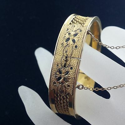 Late Victorian Hand Made G F and Black Enamel Bangle Bracelet By Betsy Ross