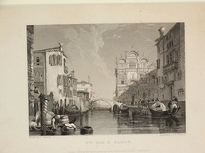 """Kupferstich um 1830 J.T.Willmore Painted C.Stanfield """" St Gio E Paolo """" (stich10"""