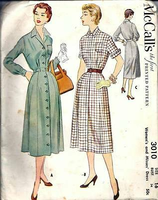 Vintage 50s Dress Sewing Pattern McCall's 3010 B34 Size 16
