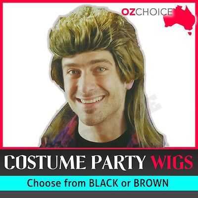 New Black Brown 70's 80s Mullet Wig Mens Tragic Bogan Costume Fancy Party Wigs