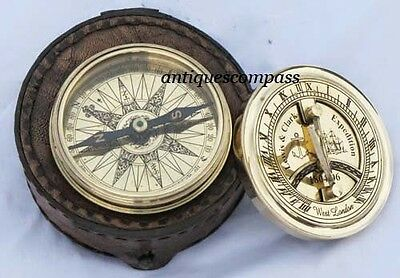 Working Nautical Brass Sundial Compass W Leather box - Collectible
