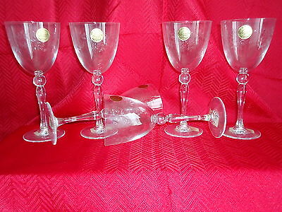 6 New Cristal D'Arques Roseraie Wine Goblets Glasses 6-3/4 oz. engraved in box
