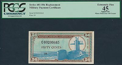 Military Payment Cert Series # 681 50¢ Replacement Pcgs Xf 45 Br6249