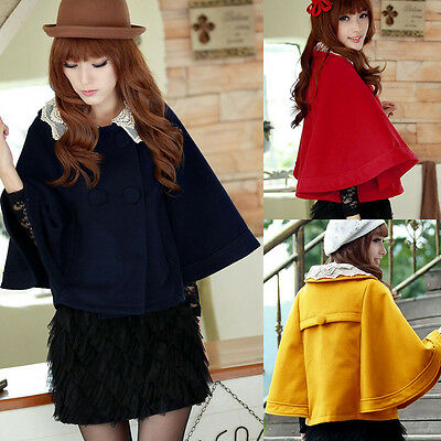 Fashion Womens Lace Batwing Sleeve Double Breasted Collar Cloak Short Cape Coat