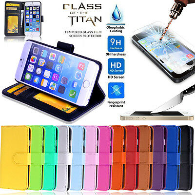 New Wallet Leather Case Cover - iPhone 5 5S 5C + Tempered Glass Screen Protector