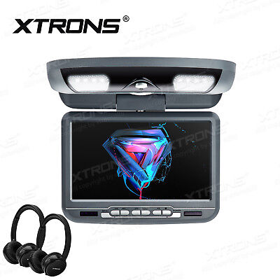"XTRONS 9"" Car Roof Mounted Overhead monitor DVD Player Game VAN  Headphone Grey"