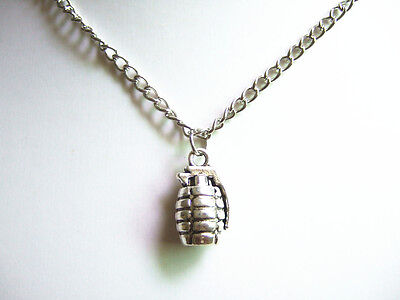 New Antique Silver Hand Grenade Pendant Chain Charm Necklace Punk Necklace 22""
