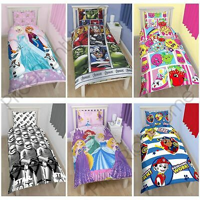 Disney and Character Kids Single Duvet Cover Sets Boys Girls - Various Designs