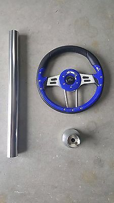 E Z Go Golf Cart Part Steering Wheel Combo With Adapter  2001-UP TXT  Blue