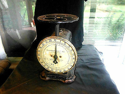 ANTIQUE COLUMBIA FAMILY 24 LB. MERCANTILE SCALE(1907) WITH ROUND TOP-BLACK PAINT