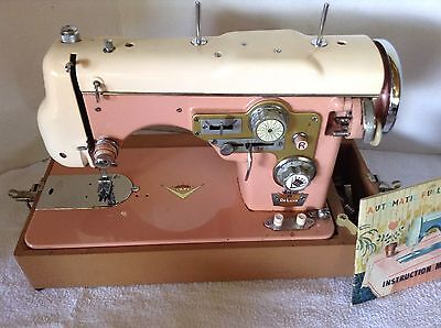 Rare Pink Sears 116 Deluxe Precision Automatic Full Zig-Zac Sewing Machine Japan