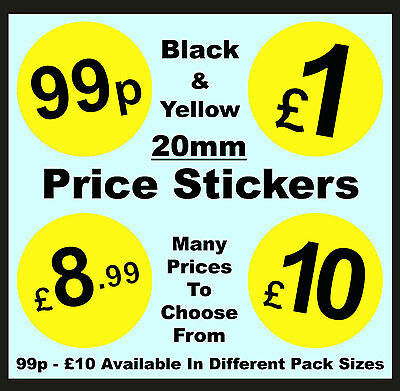 20mm Black & Yellow Price Point Stickers / Sticky Swing Tag Labels £1, £5, £10