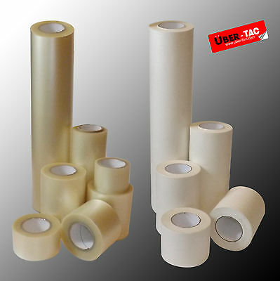 Uber-Tac Clear / Paper Roll Of Application Transfer Tape Many Sizes App Tape
