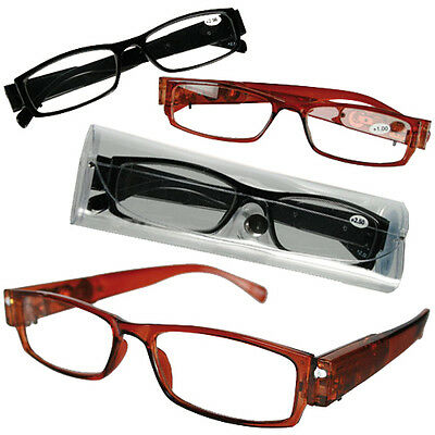 Reading Glasses With Bright Led Light Magnify Vision Unisex Spectacles Light New