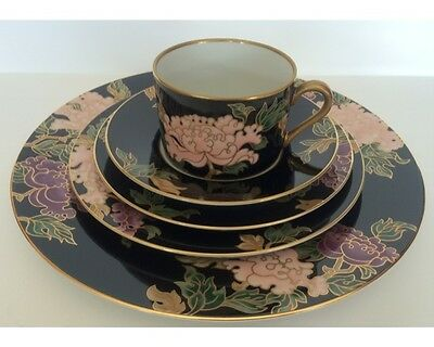 Vintage Fitz And Floyd Black Cloisonne Peony 5 Piece Place Setting