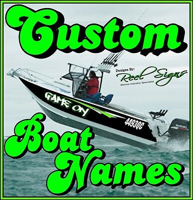 2x CUSTOM BOAT YACHT NAMES 800mm - Cast Vinyl 12Yr UV DECAL STICKER GRAPHICS