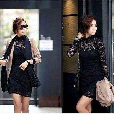 Elegant Sexy Black OL Women's Lace  Clubwear Cocktail Party Long Sleeve Dress