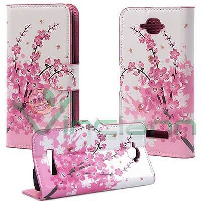 Custodia eco pelle FIORI di PESCO per Alcatel One Touch Pop C7 cover  book stand