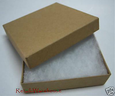 """Jewelry Gift Boxes 100 Kraft Cotton Filled Lidded #33 Tan 3 1/2"""" x 3 1/2 """" x 1"""""""