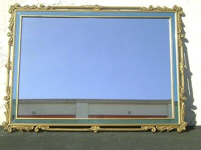 Antique Vintage Blue Glass Mirror Gilt Frame Art Deco French Hollywood Regency