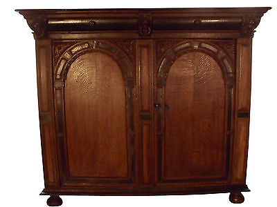 * Dutch Renaissance Utrecht Oak Cupboard 17th Century