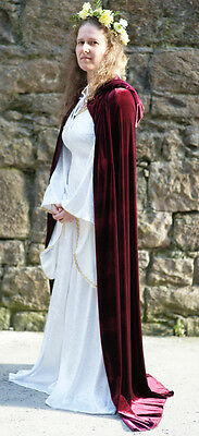Medieval/Fantasy Burgundy Hooded Cloak Fancy Dress All Plus Sizes