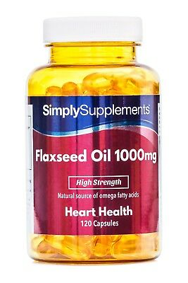 Flaxseed Oil 1000mg 120 Capsules | Source of Omega 3 6 & 9 Cold-Pressed Capsules