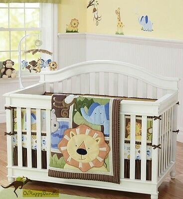 New Baby Boys 7 Pieces Cotton Nursery Bedding Crib Cot Sets--Lion Jungle Animals