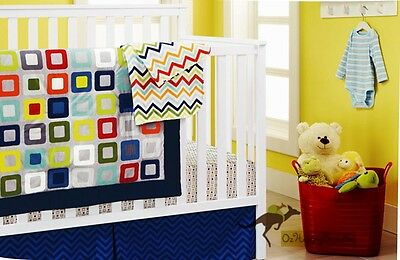 New Baby Boys 9 Pieces Cotton Nursery Bedding Crib Cot Sets-- Rainbow Blocks