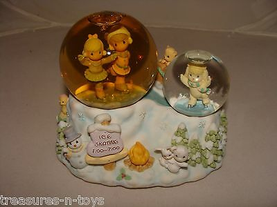 Precious Moments Snow Globe Musical Water Ball Skater's Waltz Double Ball NO BOX