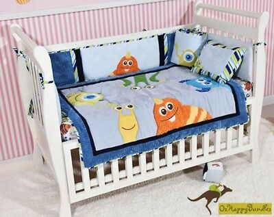 Baby Boys 7 Pieces Cotton Monsters Theme Nursery Bedding Crib Cot Sets